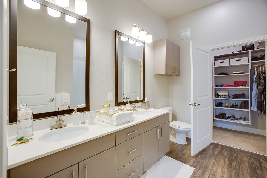 Bathroom with attached clothes closet