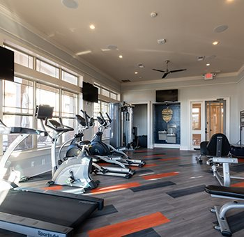 Fitness center with treadmill & other exercise machines