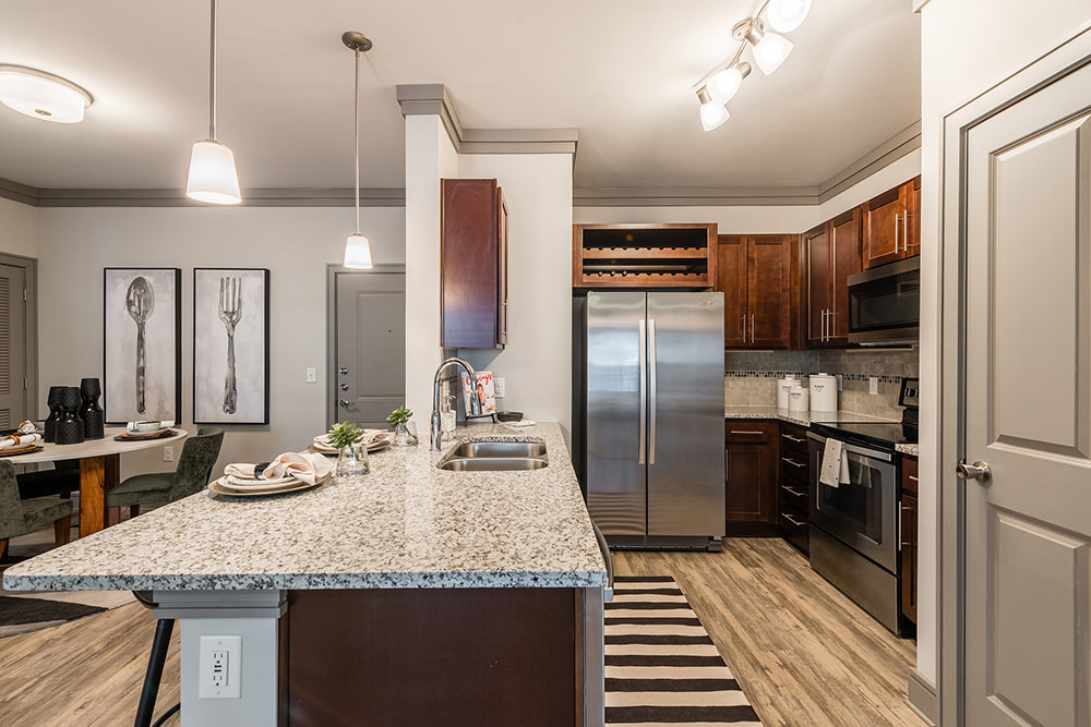 open kitchen furnished apartment at Cortland Perimeter Park