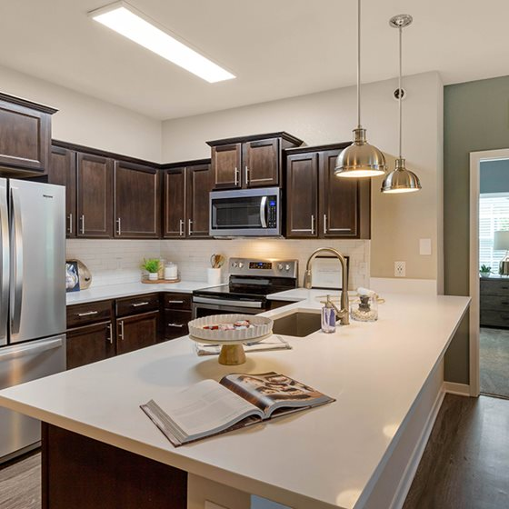 Kitchen with spacious counter tops