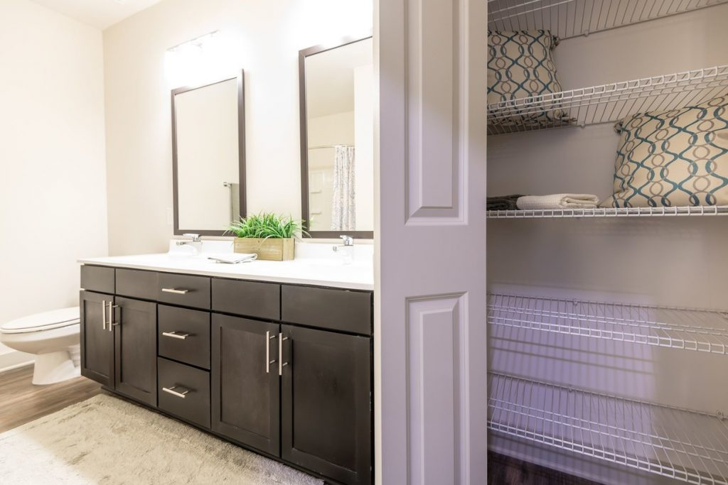 Bathroom with large linen closet at Franklin Crossroads