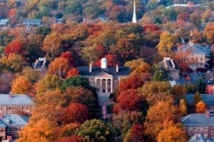 Chapel Hill, NC in the Fall with colorful trees