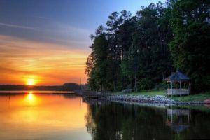 Morrisville, NC lake at sunset