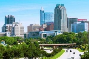 Durham, North Carolina city buildings and skyline