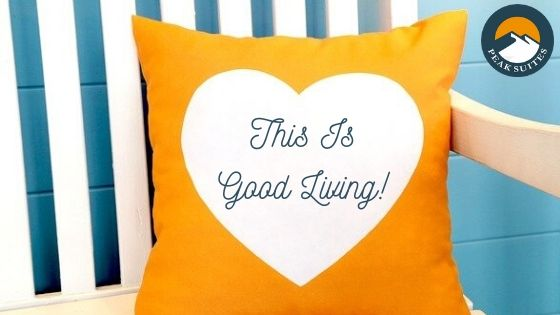 """Orange pillow with white heart and cursive """"This Is Good Living"""" written in blue ink on the heart"""