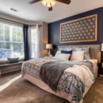 Bedroom Blue Back Wall Wakefield Glen Luxury Apartments Wake Forest