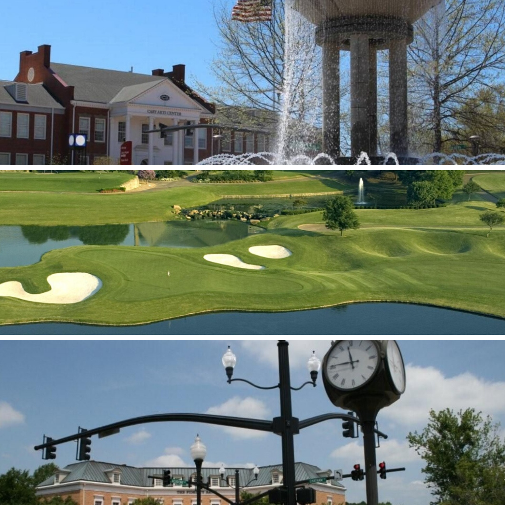 Town of Cary Water Fountain Golf Course Intersection with Clock and Stoplights