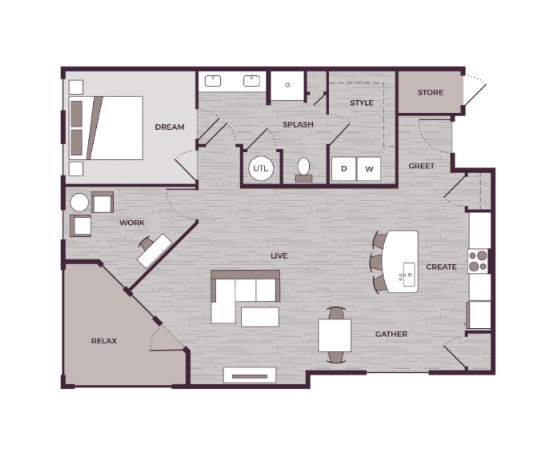 Peak Suites in Cary The Aster 1 bed 1 bath 1102 square feet floor plan