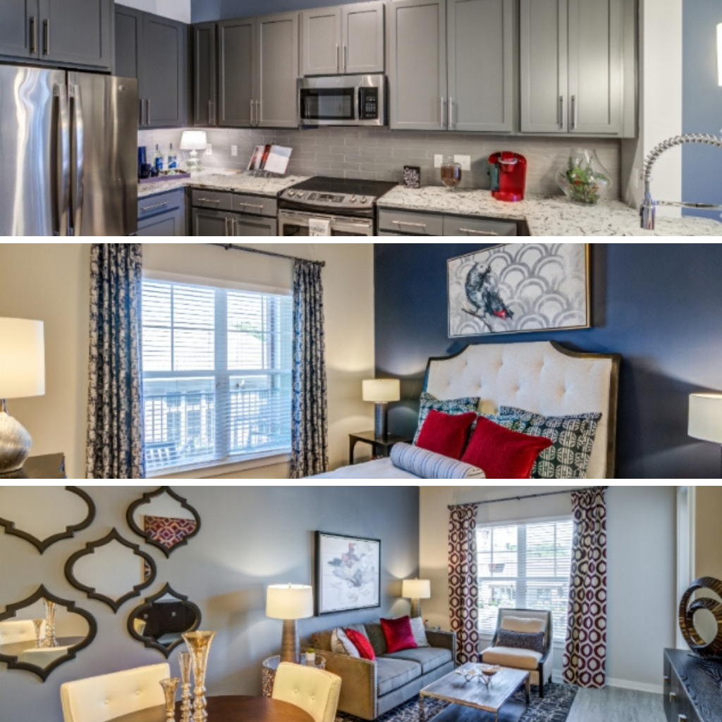 Peak Suites in Cary at The Aster kitchen bedroom and living area