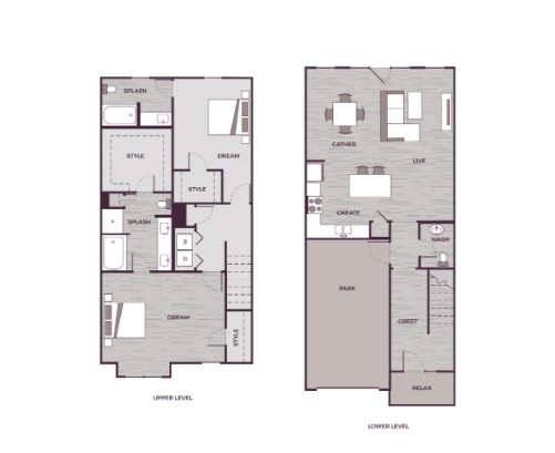 Peak Suites in Cary The Aster 2 bed 2.5 bath 1668 square feet floor plan