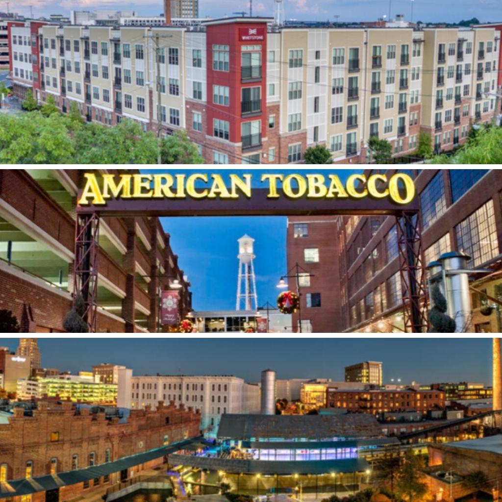 Durham American Tobacco Campus Bull City at Night