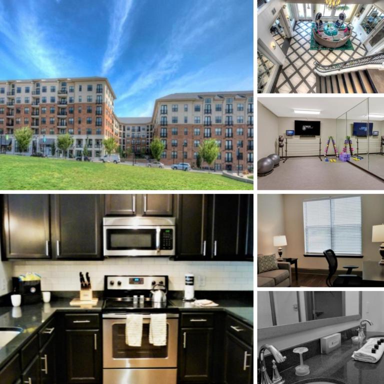 Peak Suites Raleigh Midtown Green building, lobby, gym, kitchen, office, bathroom