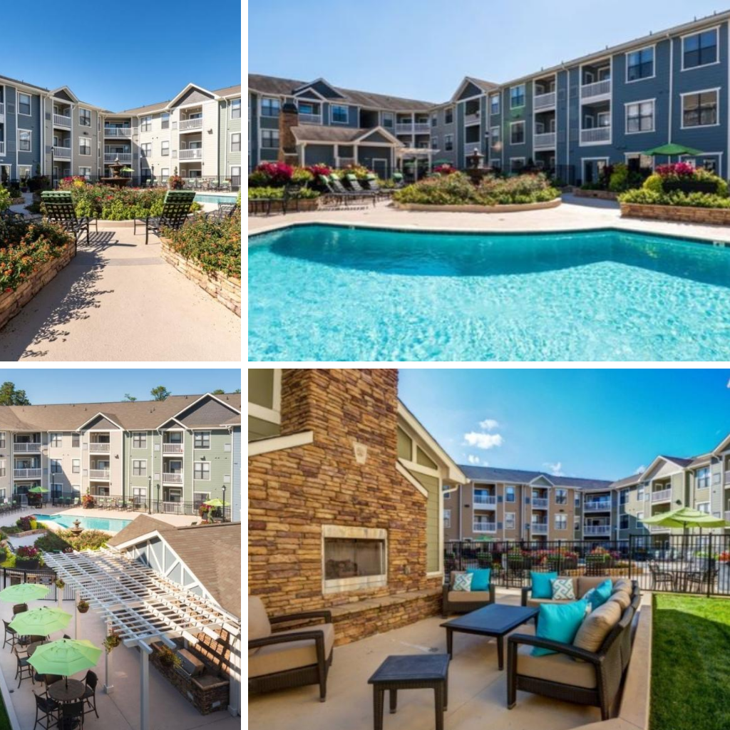 Peak Suites Raleigh at North City 6 Outdoor Pool Seating Area Landscaped Furnished Apartments