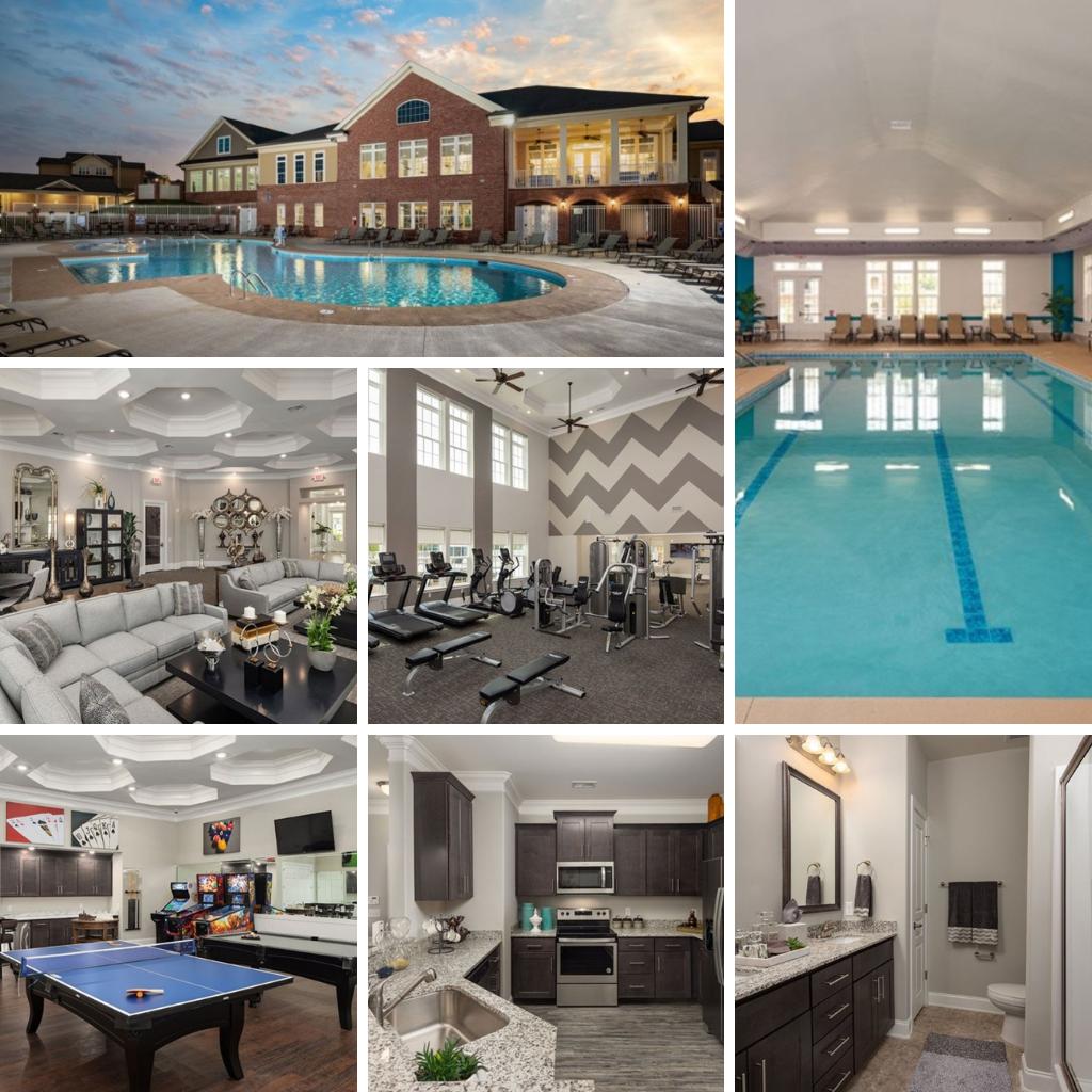 Apex Villages at Westford outdoor pool, indoor pool, gym, kitchen, bathroom