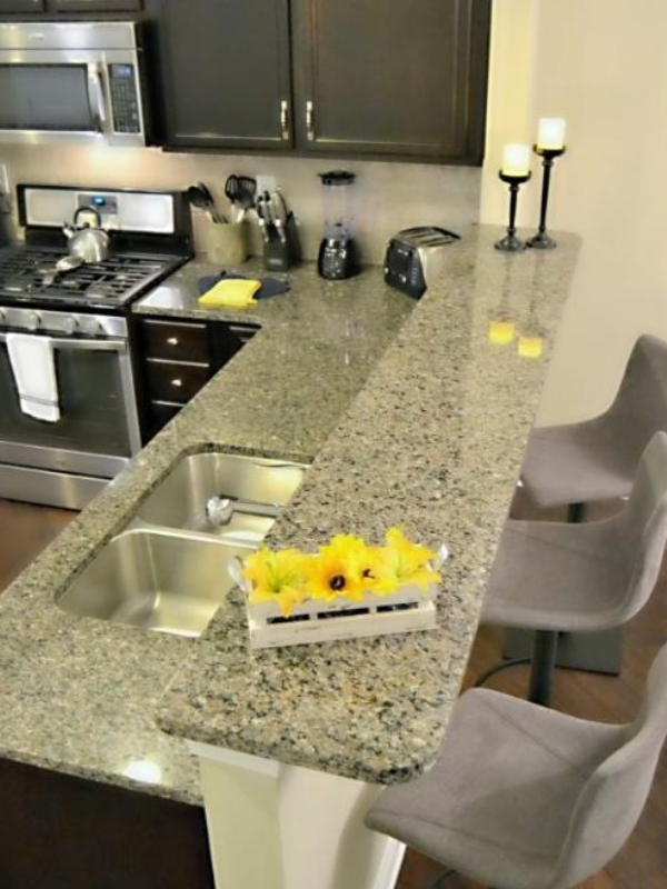Peak Suites Kitchen Stainless Steel Appliances Raised Counter Top with Barstools