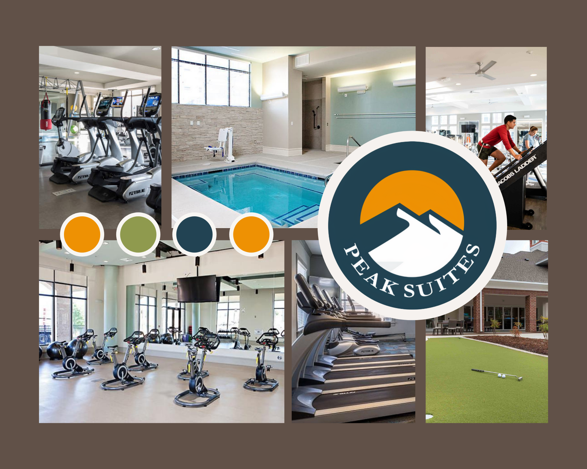 collage of fitness equipment in short term apartment buildings
